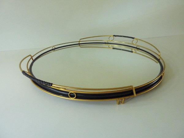 plateau miroir rond années 50 doré et scoubidou noir