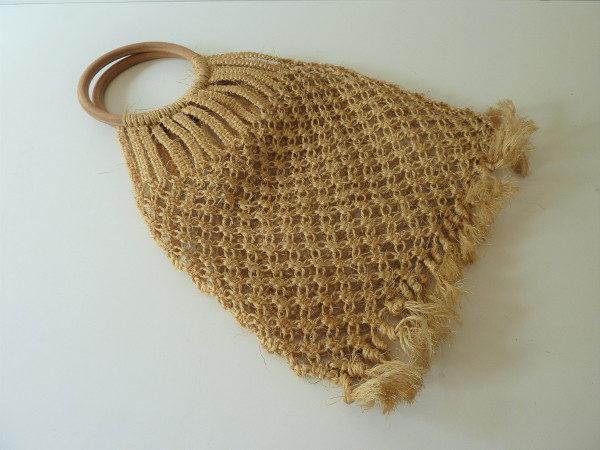 sac macramé en raphia vintage