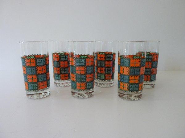 verres à orangeade seventies vintage