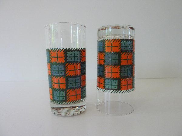 verres à orangeade seventies orange et vert