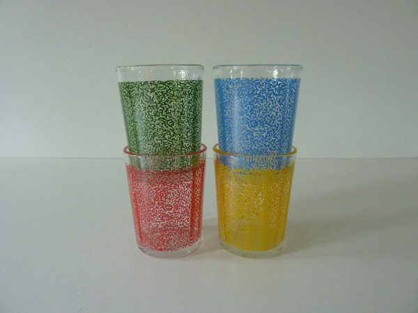 4 verres multicolores années 50