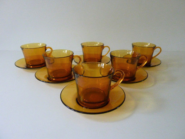 6 tasses taille moyenne ambre duralex seventies
