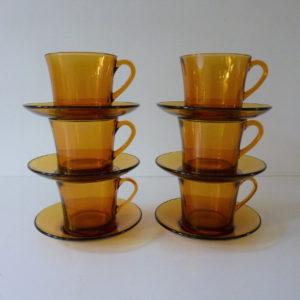 6 tasses taille moyenne ambre duralex vintage