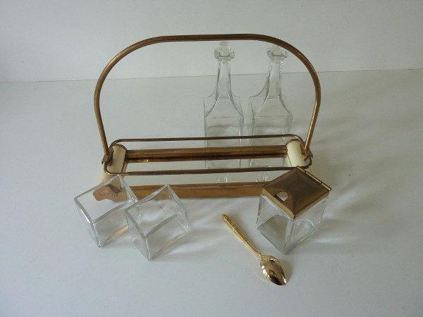 Serviteur condiments ancien plateau miroir