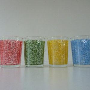 verres multicolores années 50