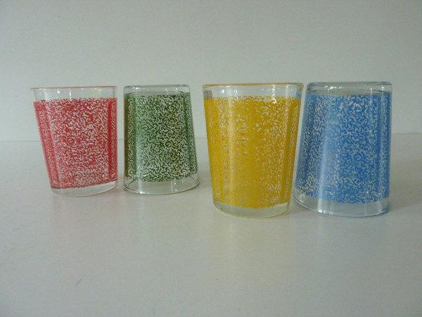 verres multicolores années 50 vintage