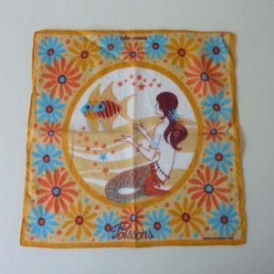 carré vintage motif astrologique poissons 1