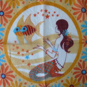 carré vintage motif astrologique poissons 2
