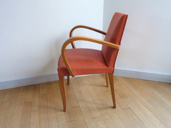 fauteuil bridge ancien années 50-60 orange clair