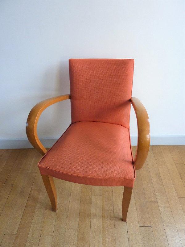fauteuil bridge ancien années 50-60 rose orange