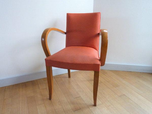 fauteuil bridge ancien années 50-60 rose
