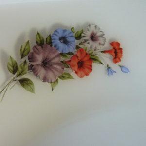 plat creux rond arcopal motifs fleurs liserons