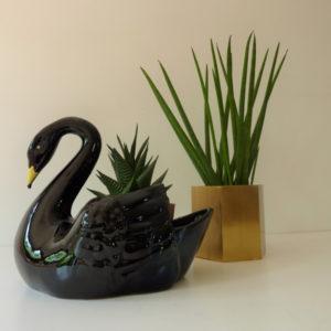 cache pot cygne noir vintage en porcelaine