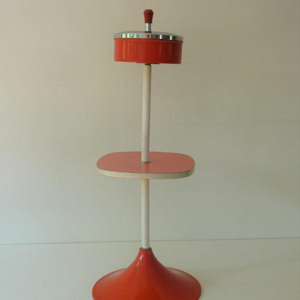 cendrier sur pied plateau Formica rouge