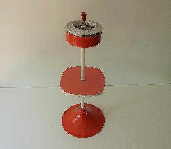 cendrier sur pied plateau Formica rouge rétro