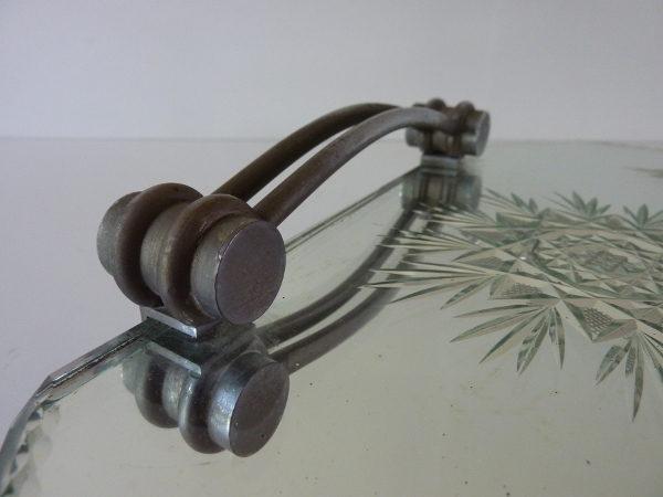 plateau miroir biseauté art déco poignées métal