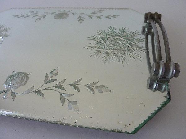 plateau miroir biseauté art déco décors fleurs