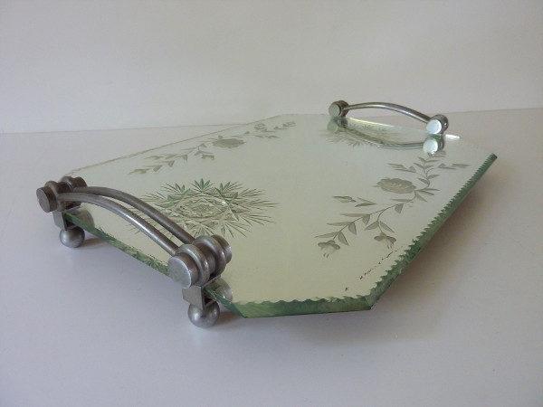 plateau miroir biseauté art déco fleurs gravés