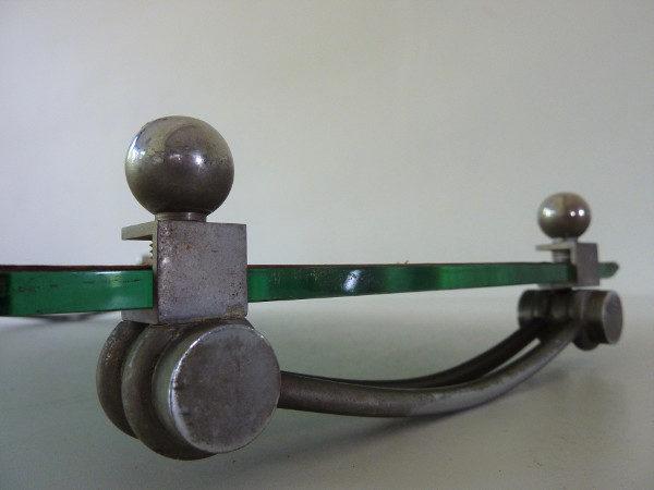 plateau miroir biseauté art déco pieds boules en metal