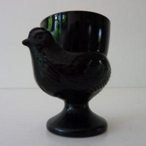 Coquetier poule noir arcopal vintage