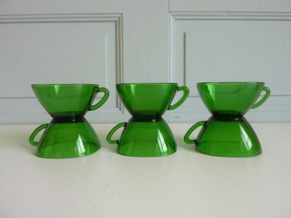 tasses vereco verte vintage