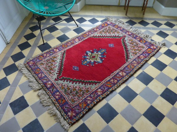 tapis ancien tissage main artisanal marocain