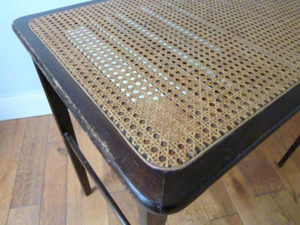 table bois pliante plateau cannage