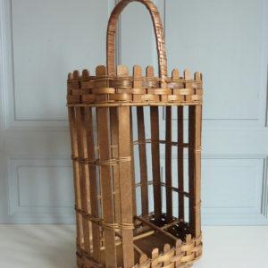 Porte bouteilles et verres mini bar bois et rotin ancien