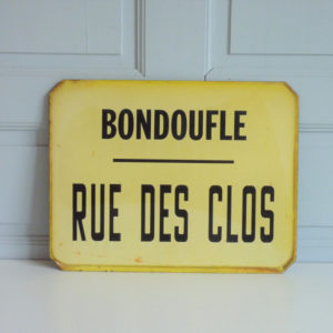 ancienne plaque emaillee bondoufle rue des clos