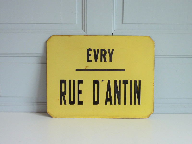 ancienne plaque emaillee evry rue d_antin