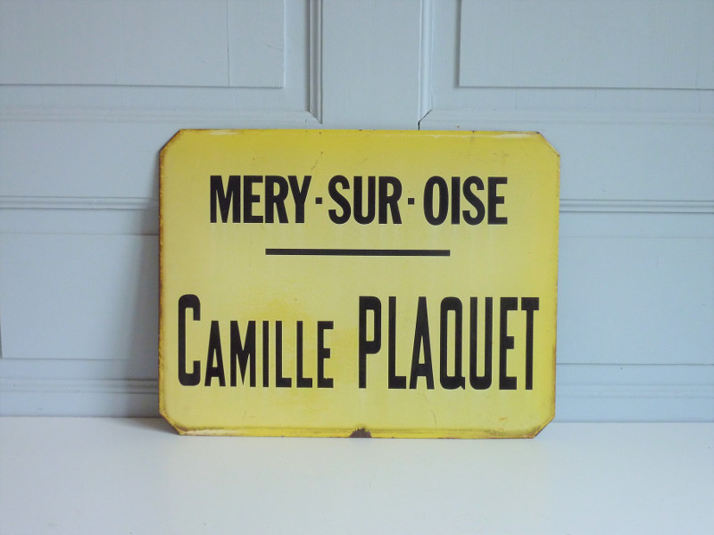 ancienne plaque emaillee mery-sur-oise camille plaquet