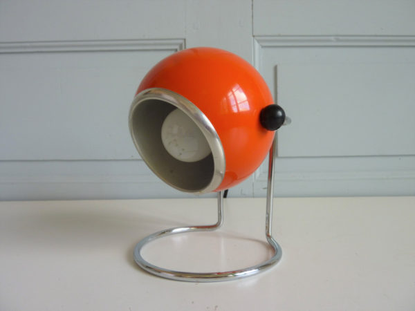 lampe à poser eyeball boule orange seventies