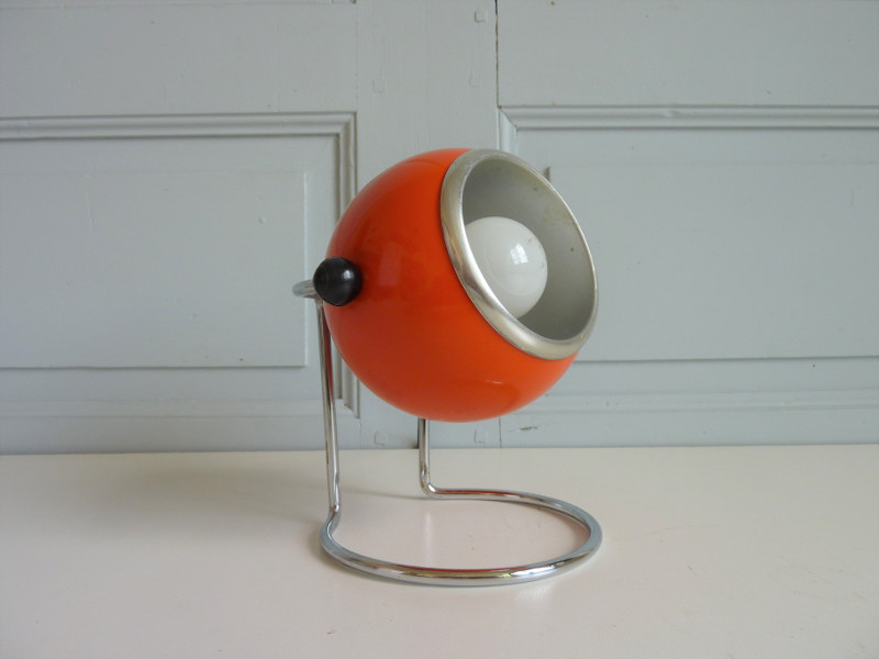lampe à poser eye ball boule orange seventies