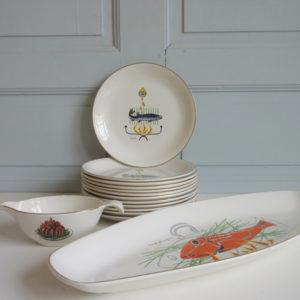 service à poisson vintage années 50