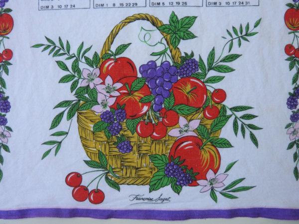 Torchon calendrier 1995 détail