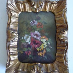 Cadre miniature doré ancien peinture à l'huile fleurs