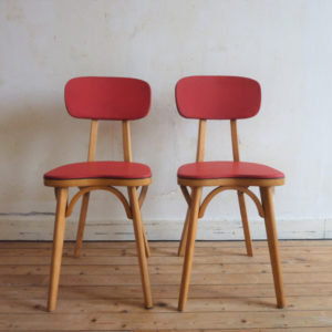 chaise bistrot bois et vinyl rouge années 50