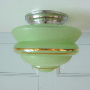 Plafonnier ou applique verre givré vert pastel années 50
