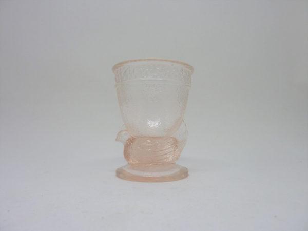 coquetier poule ancien verre rose pale