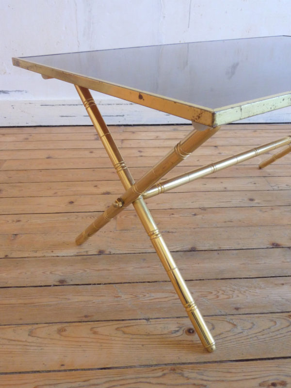 Table basse vintage dorée plateau formica impression bois