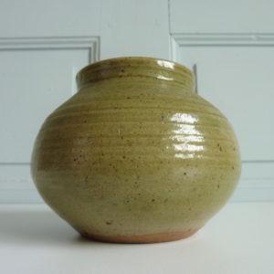Vase vintage boule céramique grès vert