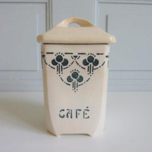 Pot Café ancien Porcelaine Bordeaux décors verts