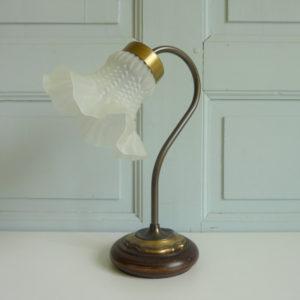 lampe à poser col de cygne tulipe verre moulé dépoli