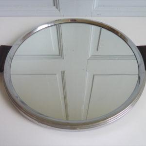 Plateau ancien miroir rond bois et métal